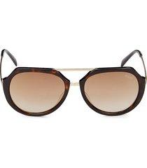 emilio pucci women's 56mm oval sunglasses - dark havana