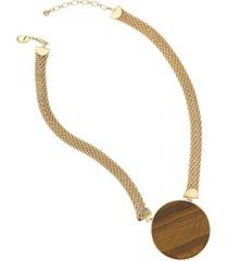 trifari women's tiger eye pendant necklace