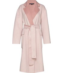 daralice wool belted coat wollen jas lange jas roze french connection