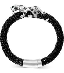 effy black diamond (1/3 ct. t.w.) & tsavorite accent big cat leather bracelet in sterling silver