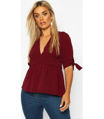 plus puff tie sleeve peplum top, berry