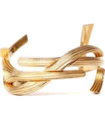 saint laurent rigid monogram brass bracelet