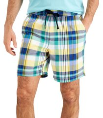 "club room men's 7"" madras plaid pull on shorts, created for macy's"