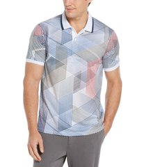 men's big and tall grid print ribbed collar polo short sleeve shirt