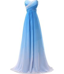 sweetheart criss cross gradient chiffon prom evening dresses blue white plus ...