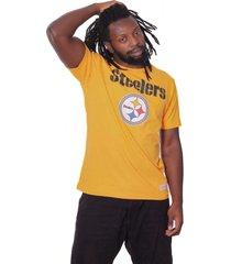 camiseta mitchell & ness bã¡sica estampada nfl pittsburgh stellers amarela - amarelo - masculino - dafiti