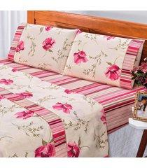 jogo de cama dourados enxovais requinte rosa solteiro percal 180 fios 03 peã§as - rosa - dafiti
