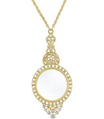 "2028 gold tone crystal filigree magnifying glass 30"" necklace"
