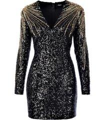 balmain short ls sequin embrodery dress