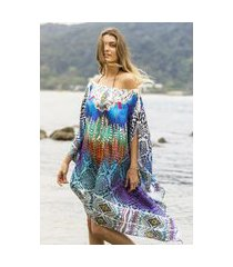 kaftan 101 resort wear vestido crepe cetim estampado penas azul