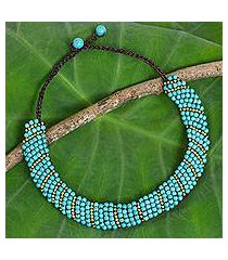 beaded choker, 'blue thai smile' (thailand)