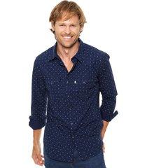 camisa azul levi's  classic western - dress blues full print