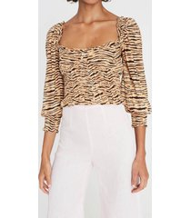faithfull the brand women's willow top - wyldie animal print - m
