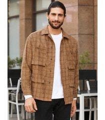 chaqueta de un solo pecho con estampado de cuadros casuales de invierno para hombre