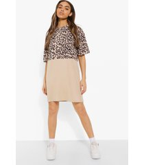 oversized luipaardprint t-shirtjurk, tan