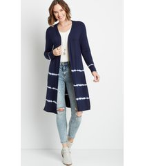 maurices womens navy tie dye open front duster cardigan blue