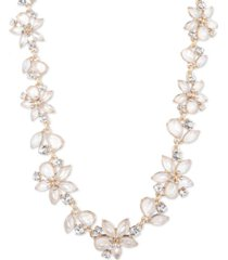 """anne klein gold-tone pave & mother-of-pearl flower collar necklace, 16"""" + 3"""" extender"""
