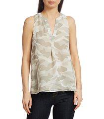 joie women's aruna silk blouse - silver sand combo - size xs