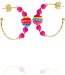 brinco dona diva semi joias argola miçanga colorido