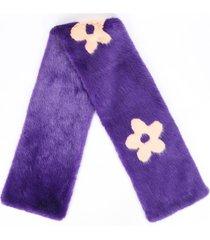 shrimps purple pink floral faux fur scarf pink/purple/floral print sz: os