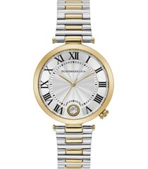 bcbgmaxazria ladies round two tone stainless steel bracelet with t bar attachment watch, 38mm