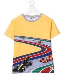 molo kids full speed curve print t-shirt - yellow