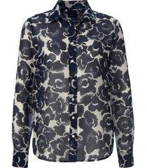 blouse met lange mouwen en bloemenprint van gant blauw