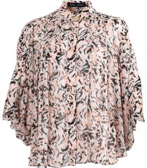 pink abstract print blouse
