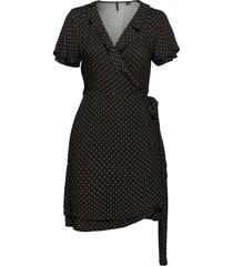 summer wrap dress knälång klänning svart superdry