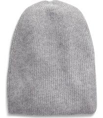 women's halogen ribbed cashmere beanie - grey