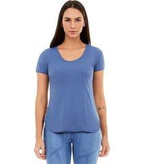 t-shirt alto giro skin fit alongada azul moonlight 2111702 azul