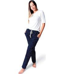 pijama confort pantalón para mujer color siete essential - azul navy