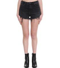 alexander wang bite zip shorts in black denim