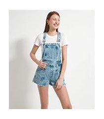 macaquinho jeans liso com bolsos e costuras | blue steel | azul | p