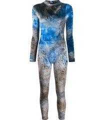 collina strada tie-dye velvet jumpsuit - blue