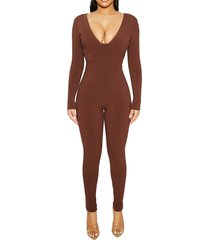women's naked wardrobe snatched bustier long sleeve jumpsuit, size small - brown