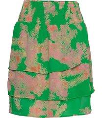 skirt w. smock at waist and frills kort kjol grön coster copenhagen
