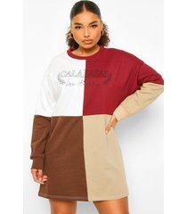 plus acid wash gebleekte sweatshirt jurk met vlinder, wine
