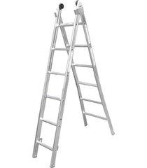 escada de alumínio alulev, 2 x 6 degraus - ed106