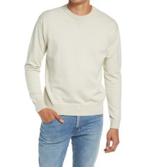 men's closed french terry cotton blend crewneck sweater, size medium - white