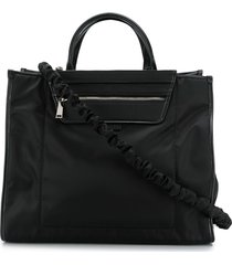 hogan ruched-strap technical tote - black