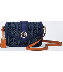 river island womens blue denim ri monogram print satchel