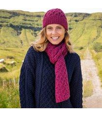 raspberry marl cozy aran hat & scarf set