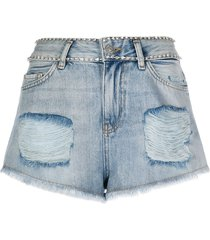 twin-set distressed denim shorts - blue