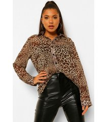 doorzichtige luipaardprint oversized chiffon blouse, brown