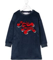 little marc jacobs velour logo sweatshirt dress - blue