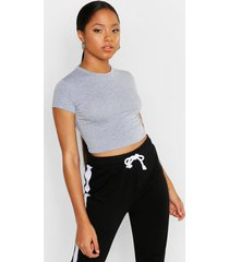 cropped capped sleeve t-shirt, grey marl
