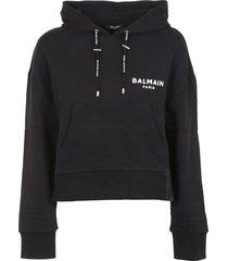 balmain short flocked logo detail hoodie