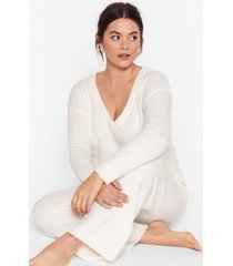 womens hello weekend plus lounge sweater and pants set - ivory