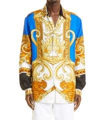 men's versace barocco long sleeve button-up silk shirt, size 39 eu - blue